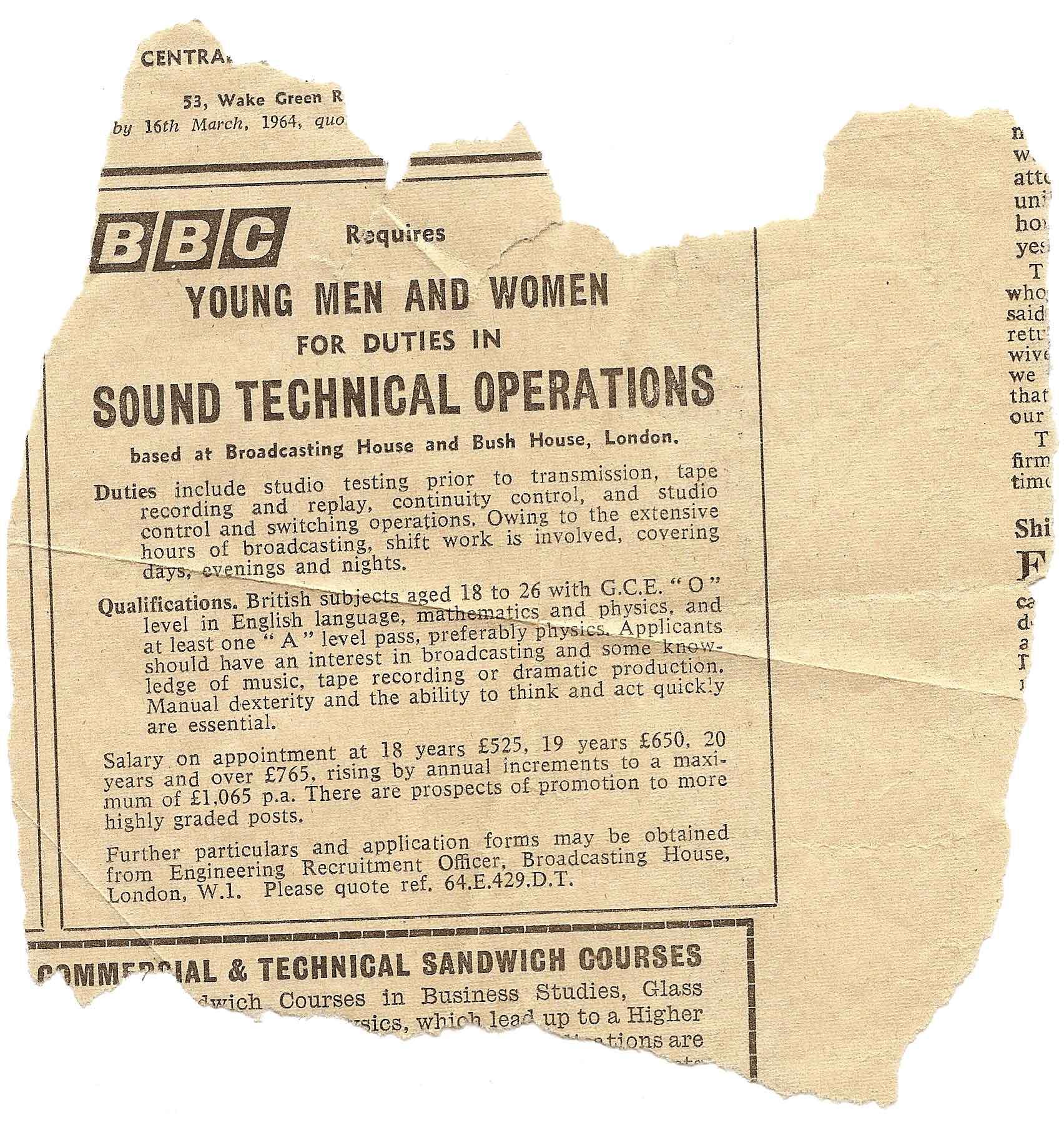 BBC Job Ad
